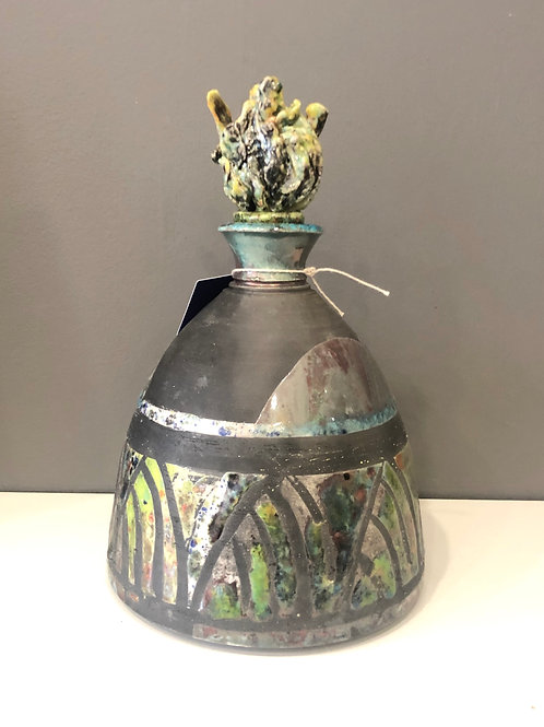 Colourful Raku Vessel