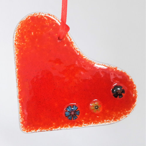Kings Forge Glass Hanging Heart - Classic Red