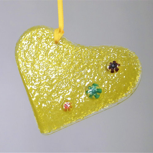 Kings Forge Glass Hanging Heart - Yellow