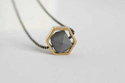 Concrete & Brass Minimalist Necklace