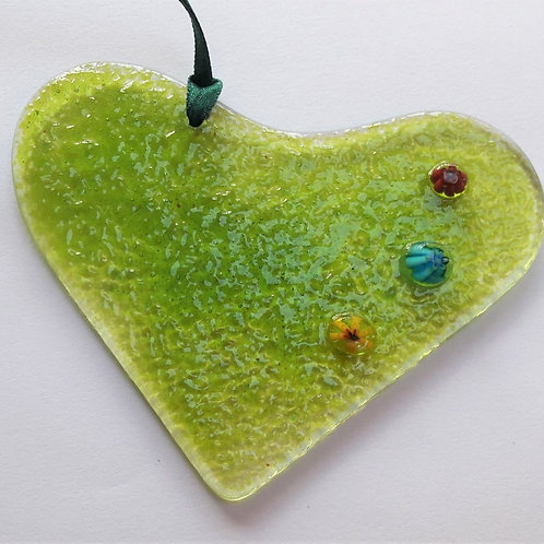 Kings Forge Glass Heart - Moss Green