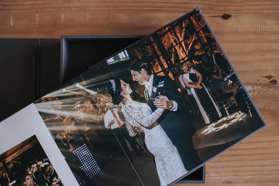 Álbum e caixa em tecido