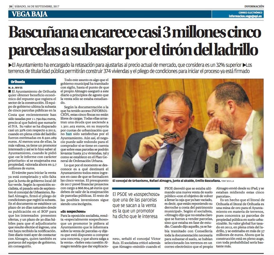 Diario Información, periódico. Noticia PSOE venta parcelas Orihuela costa Bascuñana