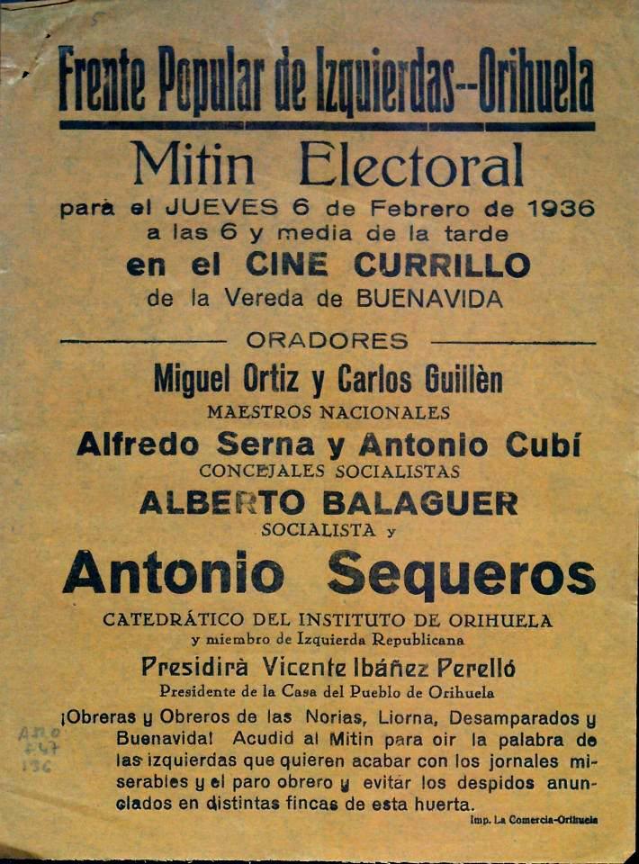 Cartel de mitin socialista. 1936