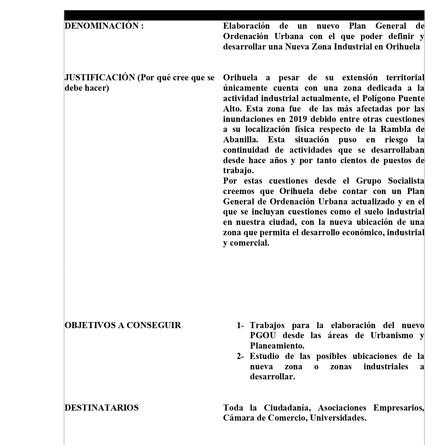 PSOE propone que se vuelva a Elaborar un nuevo Plan General de Ordenación Urbana.