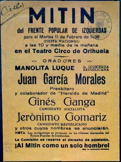Mitin socialista en T. Circo . 1936