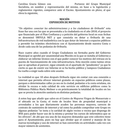 El PSOE propone al pleno un plan de empleo municipal e instalar una red wifi gratuitaen los espacio