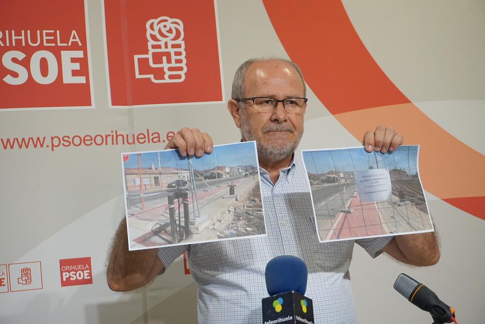 Pepe Hernández, concejal, PSOE, PSOE Orihuela, Desamparados, pedanías, la parroquia, carril-bici, hundimiento, marquesinas, denuncia, quejas, vecinos, asociaciones, colectivos, infraestructuras