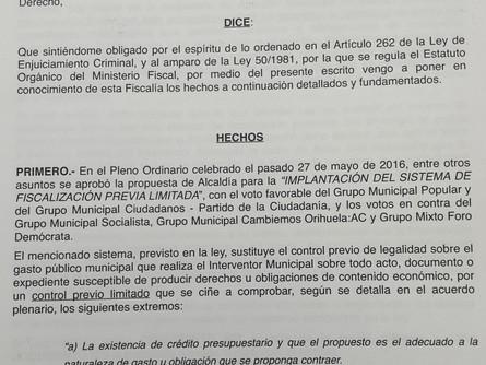 El PSOE lleva a Fiscalía que el gobierno de Orihuela no controla el gasto público.