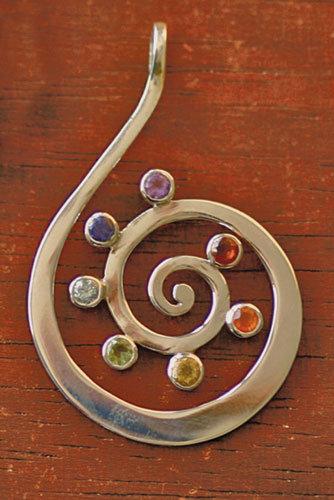 Kundalini, Kundalini-Anhänger, Chakra, Chakras, 925 Silber, Granat, Carneol, Citrin, Peridot, Blauer Topaz, Iolith, Amethyst