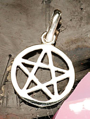 Pentagramm, Anhänger, klein, mit Rand, Berk, silber
