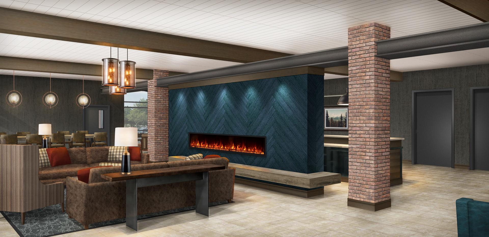 Wildwood Lobby Fireplace Seating Rendering