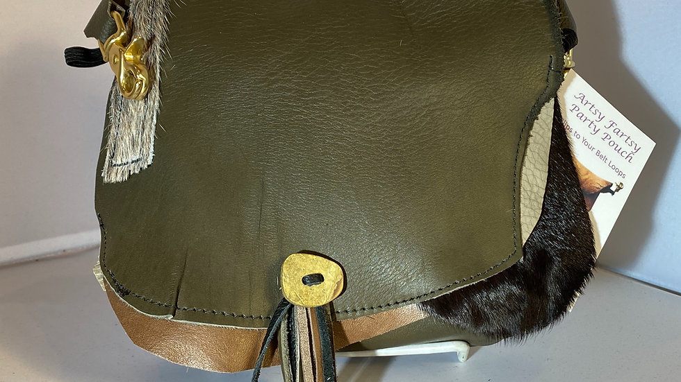 Olive Green Leather Single Zip with Fancy Flap