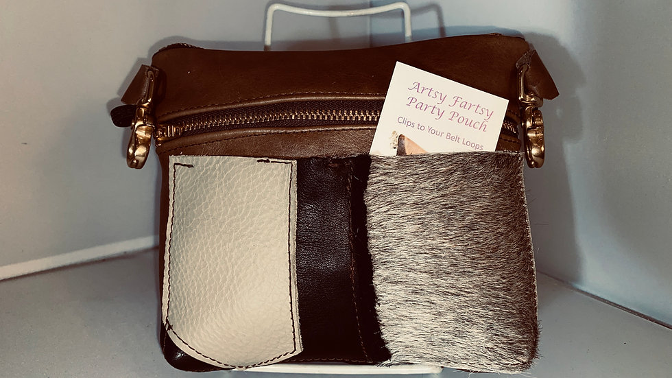 Brown Leather Double Zip with Fancy Front Pocket