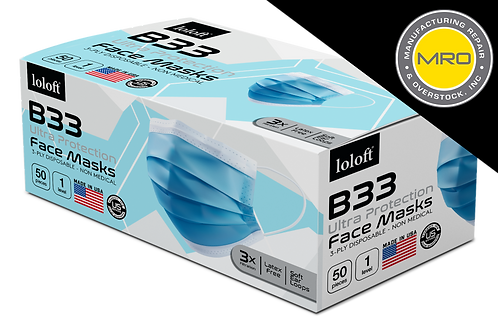 MRO Loloft B33 Disposable Face Masks, Made in the USA, Blue, 50ct