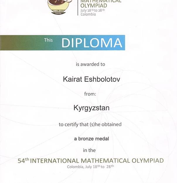 International Maths Olympiad 2013 Bronze Medal