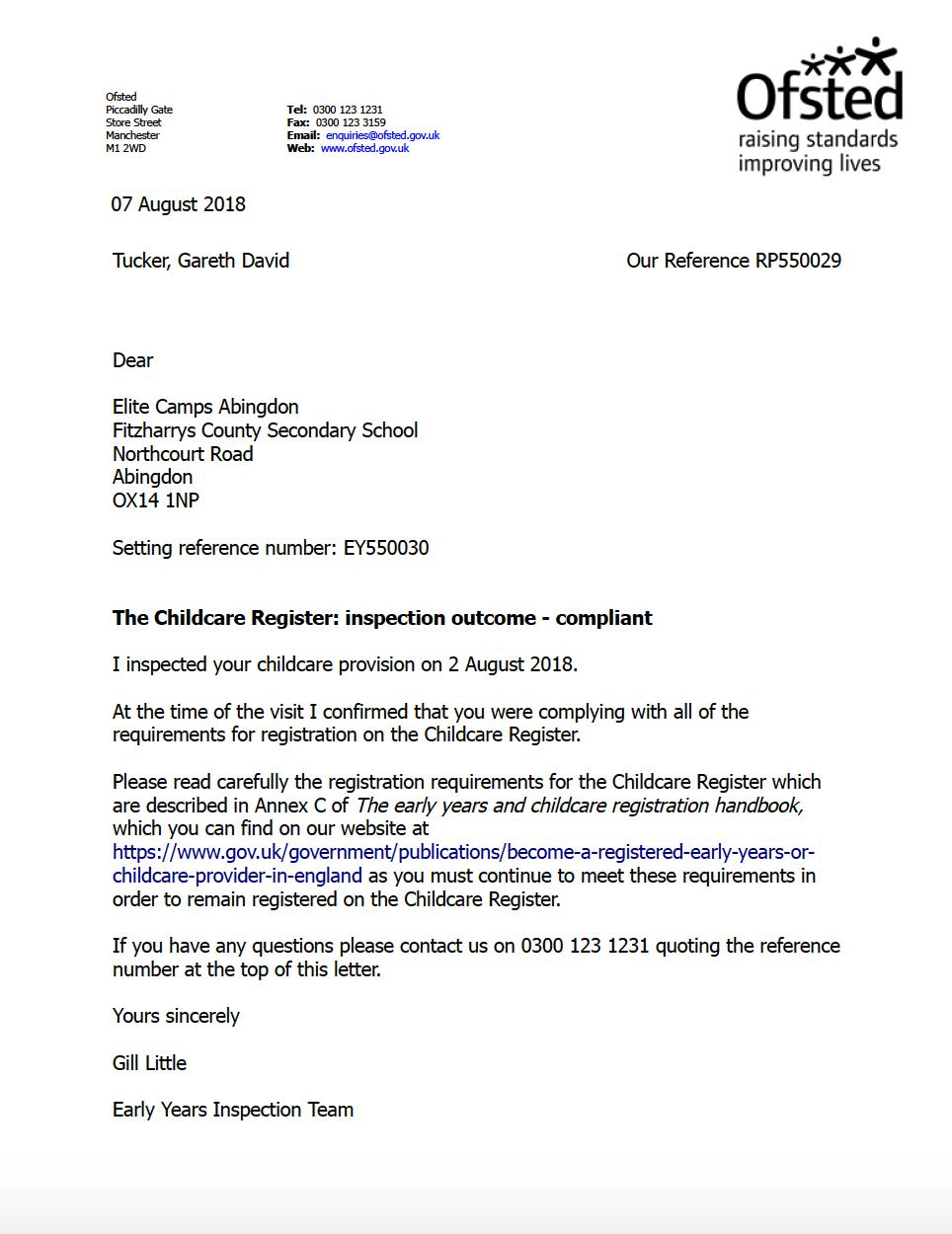 Childcare Register Inspection Letter