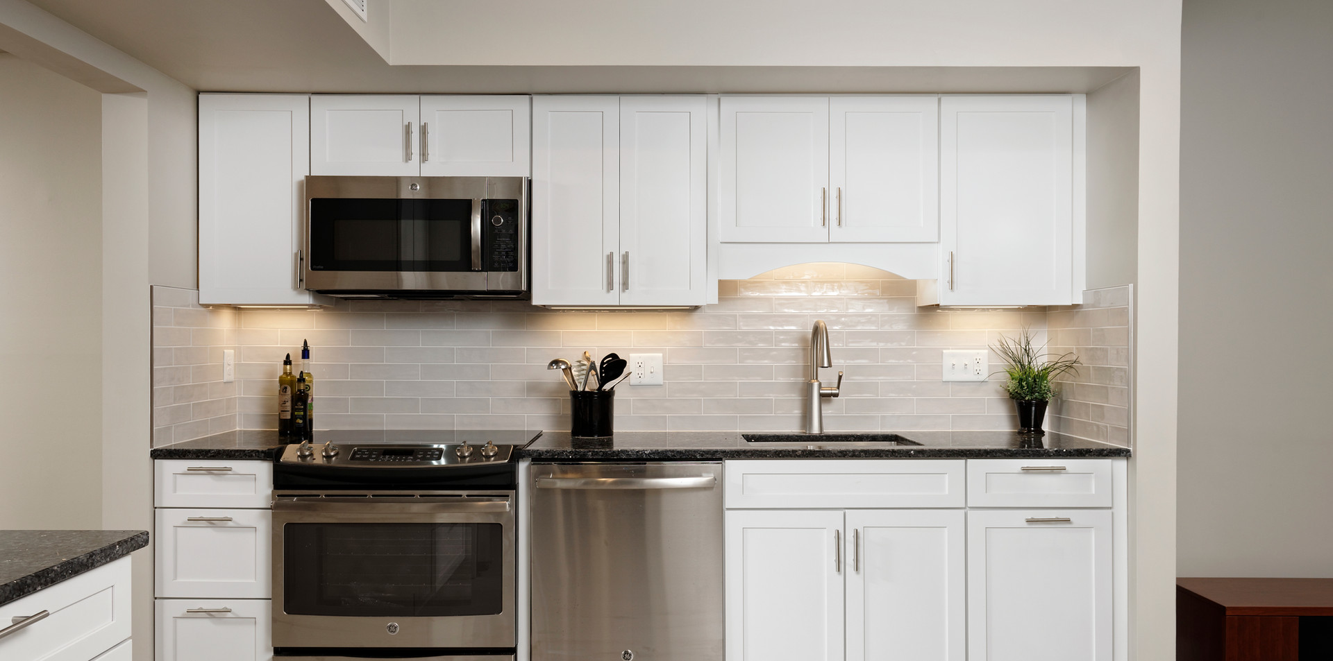 Clean White and Stainless Steel Kitchen