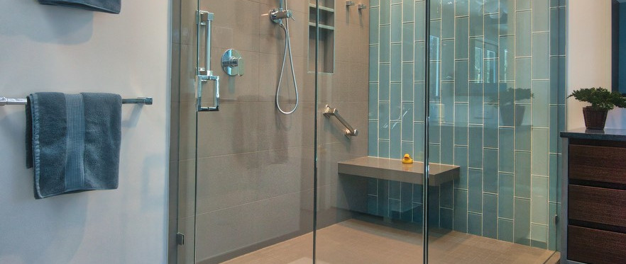 Floor to Ceiling Glass Shower with Skylight