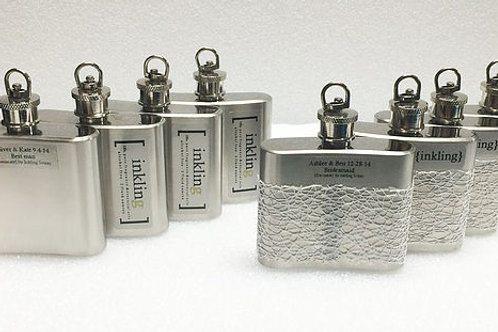 set 8 steel flasks-Bridesmaids or Groomsmen gifts