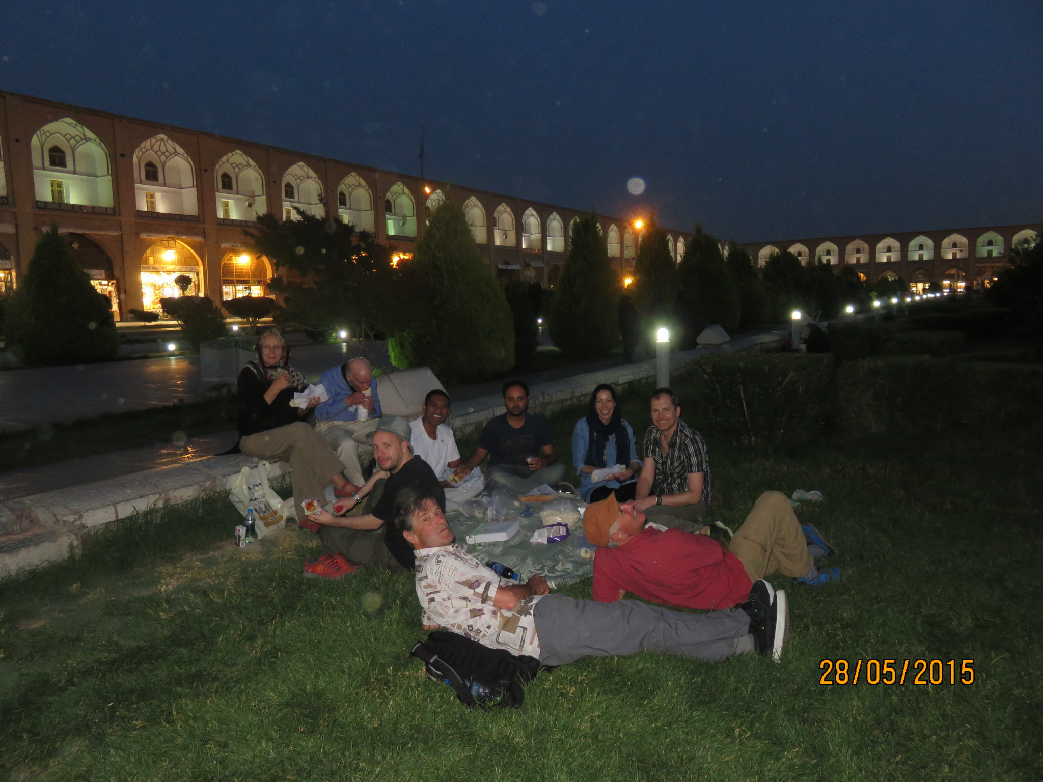 Night picnic in the square Esfahan