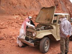 Wadi Rum Bedouin fixing their Toyota