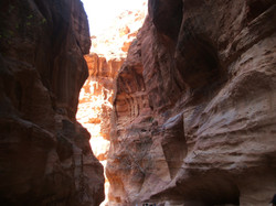 Petra a Siq and daylight through the gap