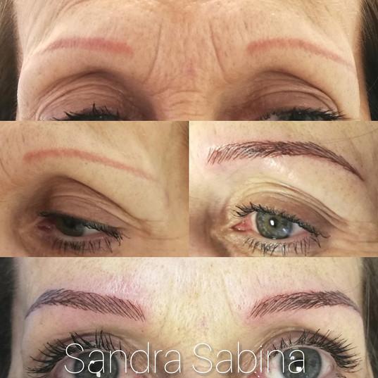 Microblading des sourcils, avec correction d'un ancien maquillage permanent orange. A Toulouse