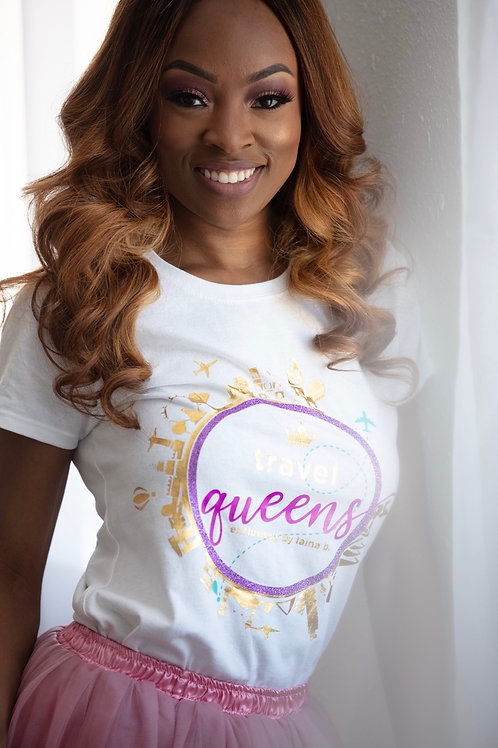 Travel Queens Logo Tee Shirt- White