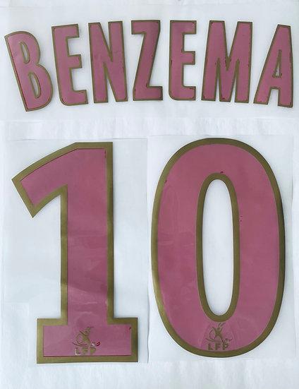 BENZEMA 10 LYON NAME & NUMBER SET EPL 2008-09