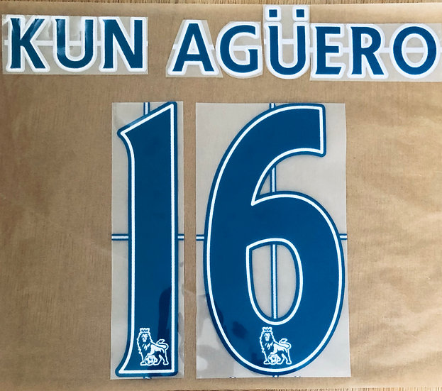 KUN AGUERO 16 NAVY NAME SET EPL SEASON 2011-13 MAN CITY