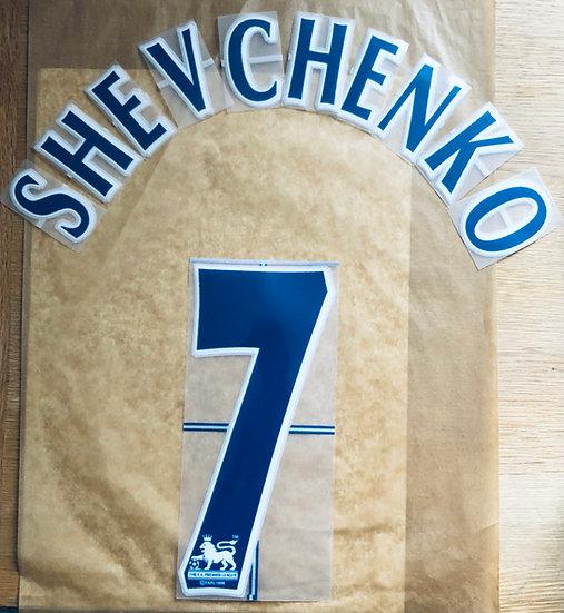 SHEVCHENKO 7 BLUE NAME SET EPL SEASON 2006-09