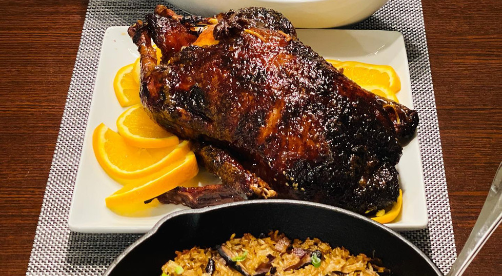 Orange five spice duck with sticky rice dressing