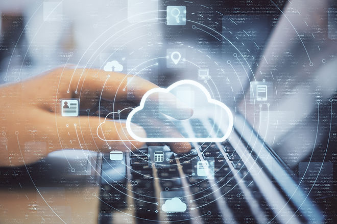 Hand working with cloud computing diagra