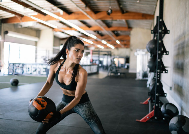 Fit girl working out crossfit