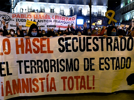 Pablo Hasél preso pela Justiça franquista do Estado espanhol