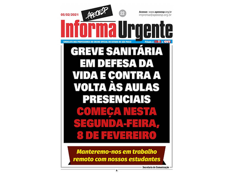 Professores de São Paulo em Greve contra a volta às aulas presenciais!