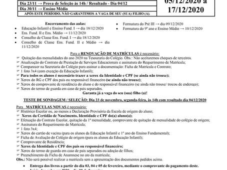 CIRCULAR AOS PAIS- MATRÍCULA 2021