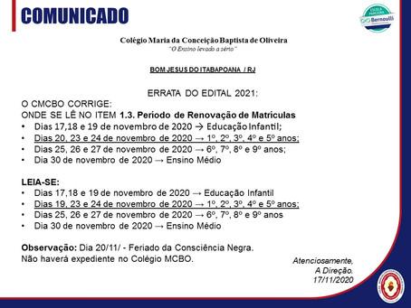 ERRATA:EDITAL 2021 E CIRCULAR AOS PAIS