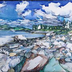 "Shore Walk, Cranberry Isle watercolor 23"" x 30"", 2011 - $4200"