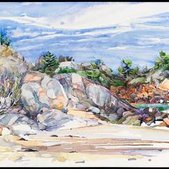 "Singing Beach watercolor 14"" x 20"", 2011 - $1100"