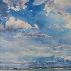"Furrowing Sky watercolor 16"" x 21.5"", 2010 - $2200"