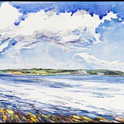 "River Flat watercolor 14"" x 20"", 2011 - $1100"