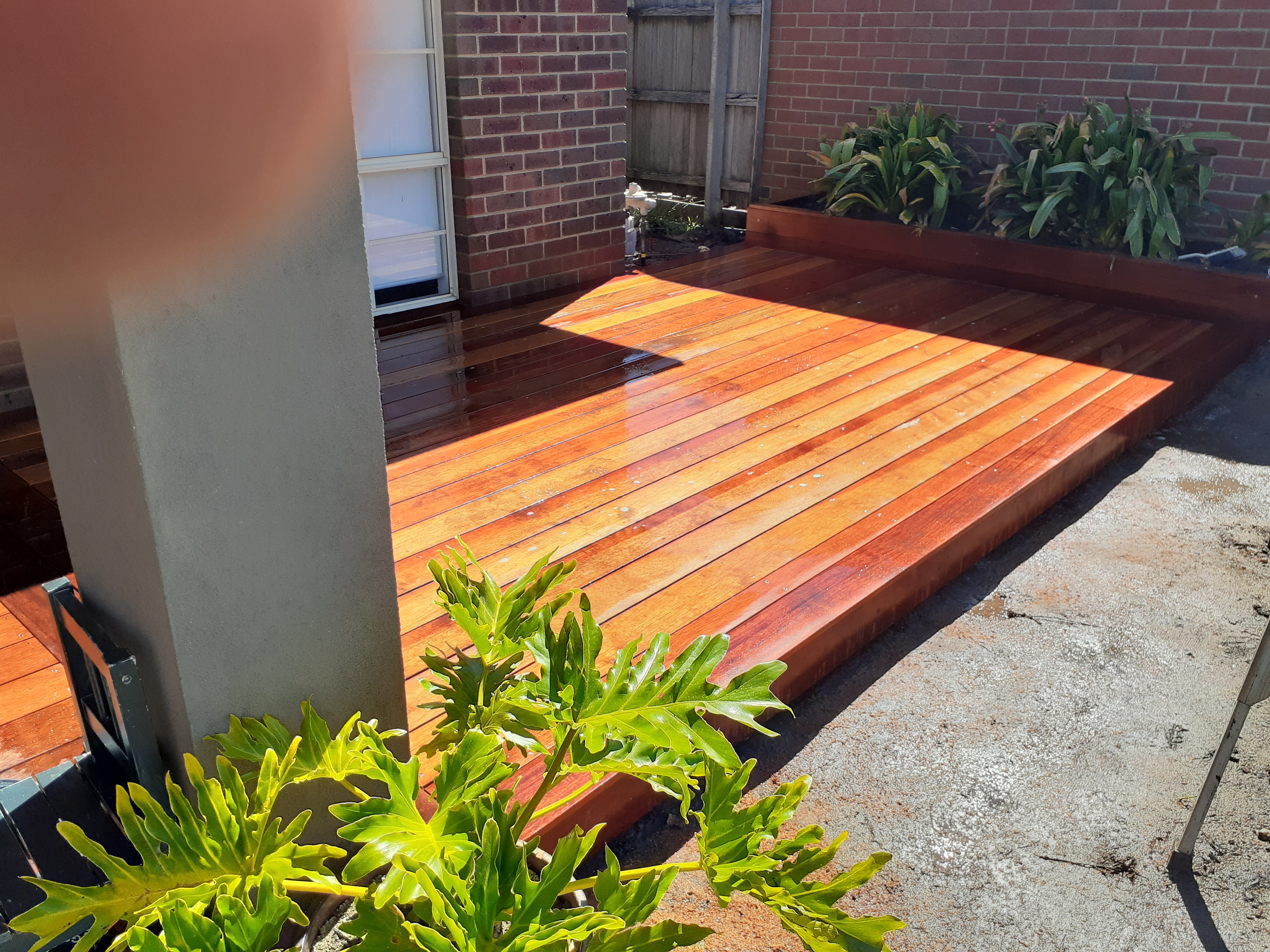A simple deck area for the front door.