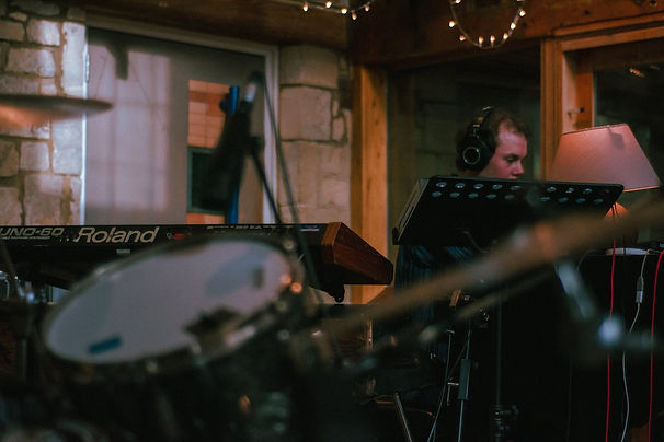 Ben Gardiner of Plastic Scene recording their song Didn't Know at Real World Studios