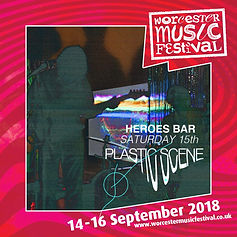 Worcester Music Festival's poster for Plastic Scene's performance at Heroes Bar, Worcester.