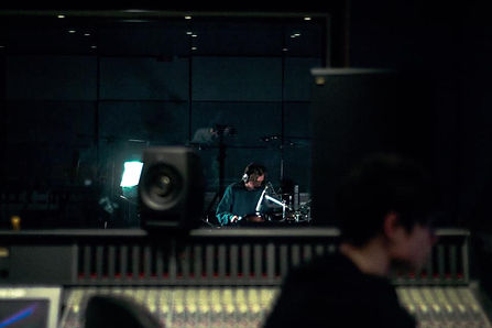 Jake Mayall and Joel Workman of Plastic Scene recording their song In Visions in Studio 2 at the Institute of Sound Recording, University of Surrey