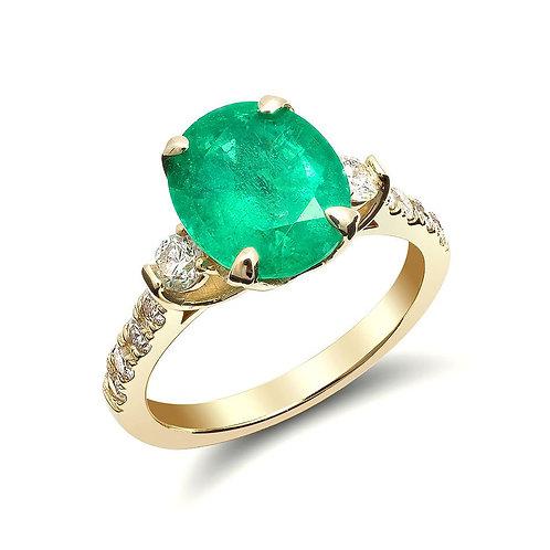 14k Yellow Gold 3.41ct TGW Natural Zambian Emerald and White Diamond Ring