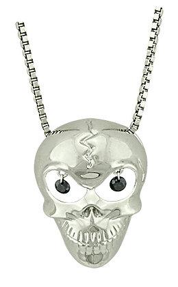 Skull Necklace with Black Diamonds