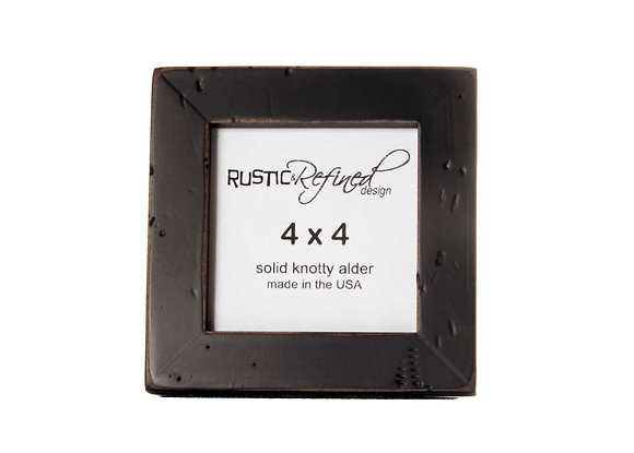 "4x4 (Rustic) Gallery 1"" picture frame - Black (distressed)"